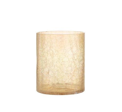 J-Line Theelichthouder Glas Crackle Transparant Amber - Large