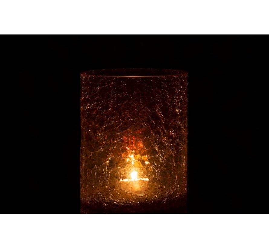 Theelichthouder Glas Crackle Transparant Amber - Large