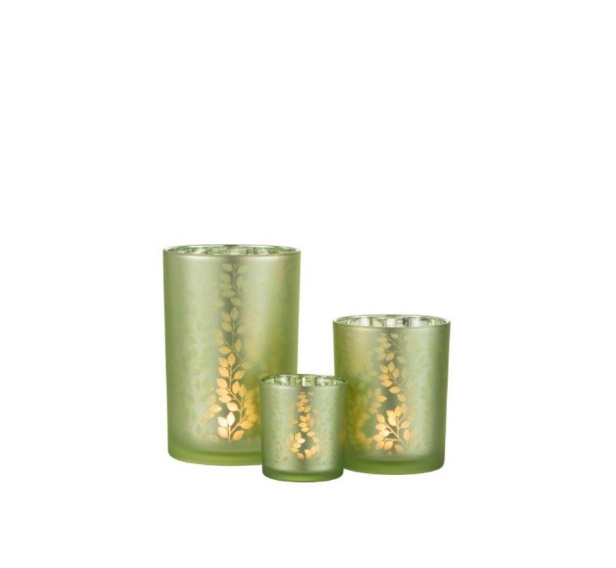 Tea Light Holder Glass Summer Leaves Green - Medium