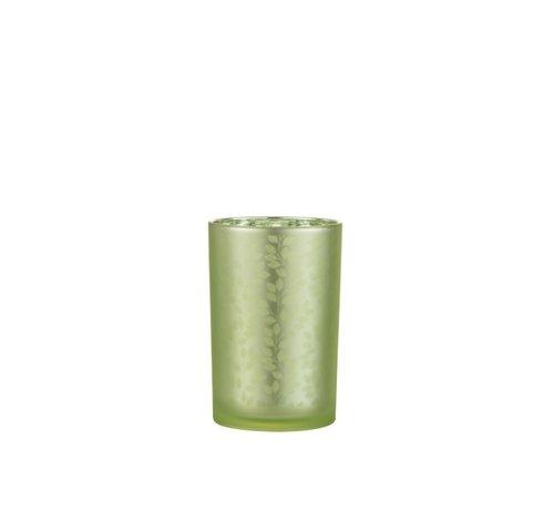 J -Line Tea Light Holder Glass Summer Leaves Green - Large