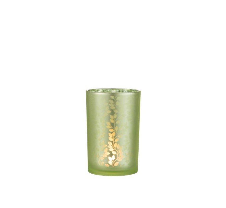 Theelichthouder Glas Zomer Blaadjes Groen - Large