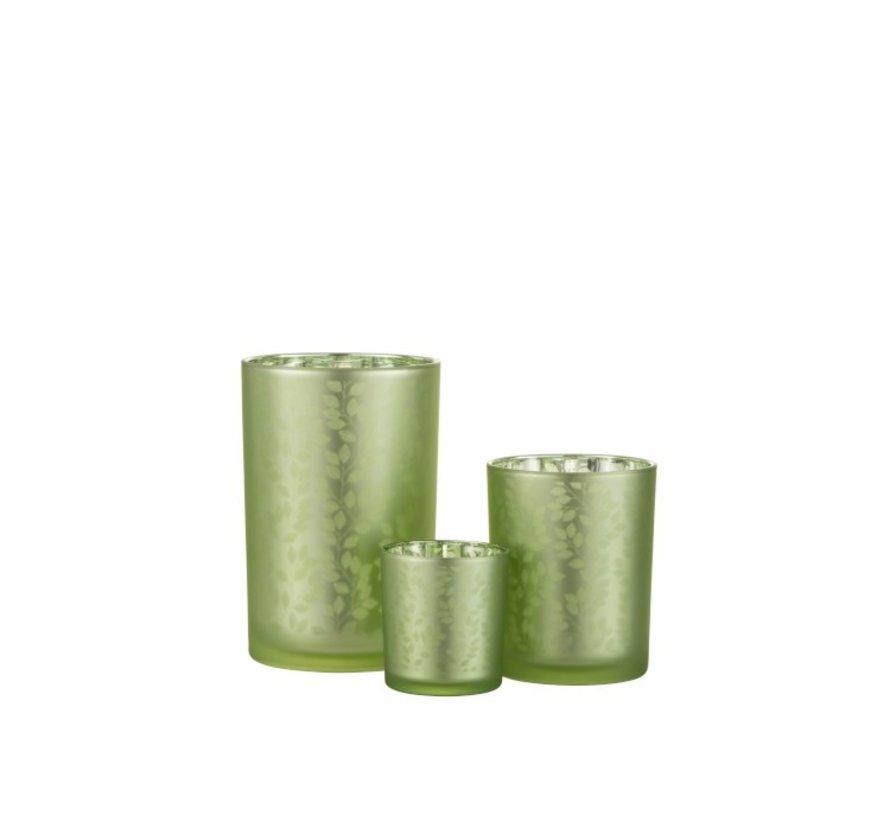 Tea Light Holder Glass Summer Leaves Green - Large