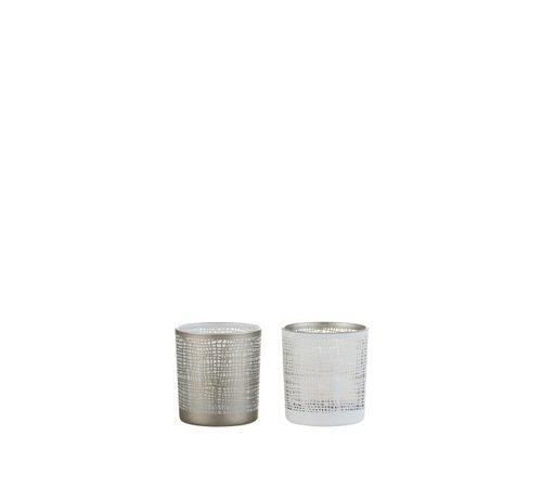 J -Line Tea Light Holder Glass Net Motif White Gray - Extra Small