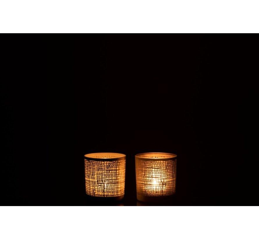 Tea Light Holder Glass Net Motif White Gray - Extra Small
