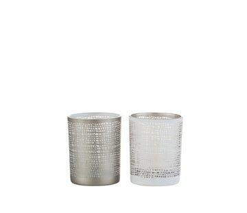 J -Line Tea Light Holder Glass Net Motif White Gray - Small
