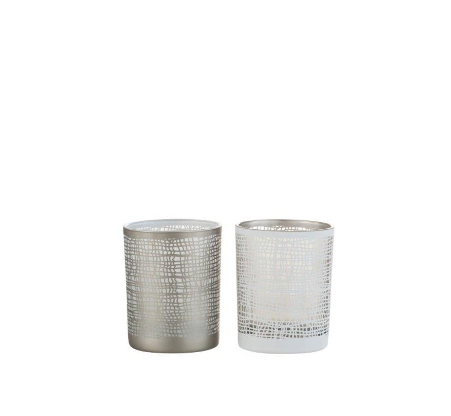 Tea Light Holder Glass Net Motif White Gray - Small