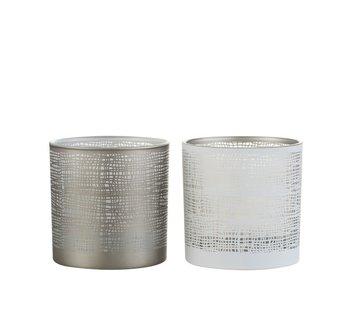 J -Line Tea Light Holder Glass Net Motif White Gray - Medium