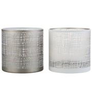 J -Line Tea Light Holder Glass Net Motif White Gray - Large