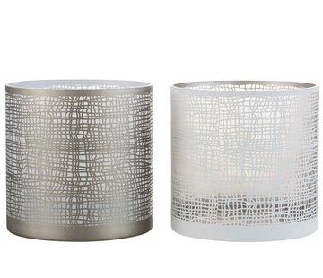 J-Line Tea Light Holder Glass Net Motif White Gray - Large