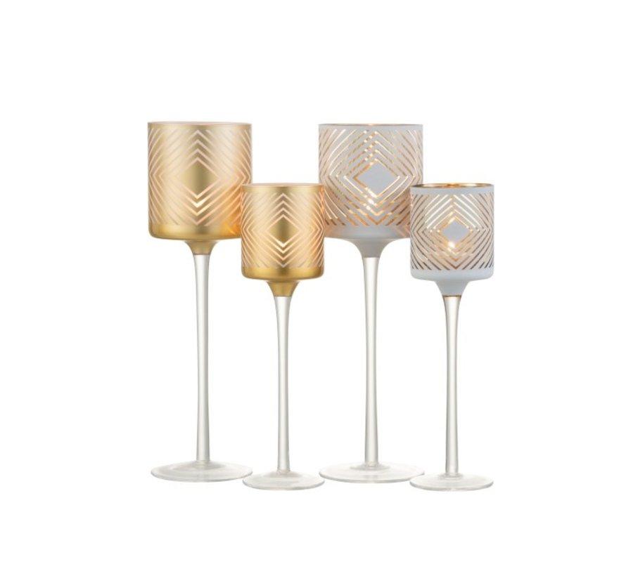 Theelichthouder Glas Op Voet Ruit Motief Wit Goud - Small