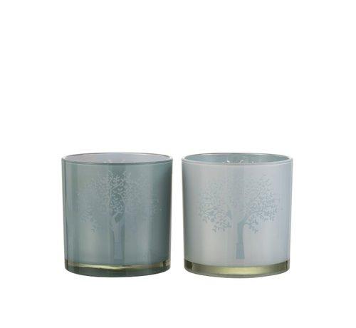 J -Line Theelichthouders Glas Boom Wit Blauw - Large
