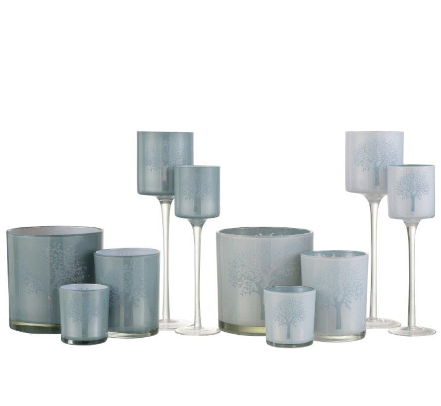 Theelichthouders Glas Boom Wit Blauw - Large
