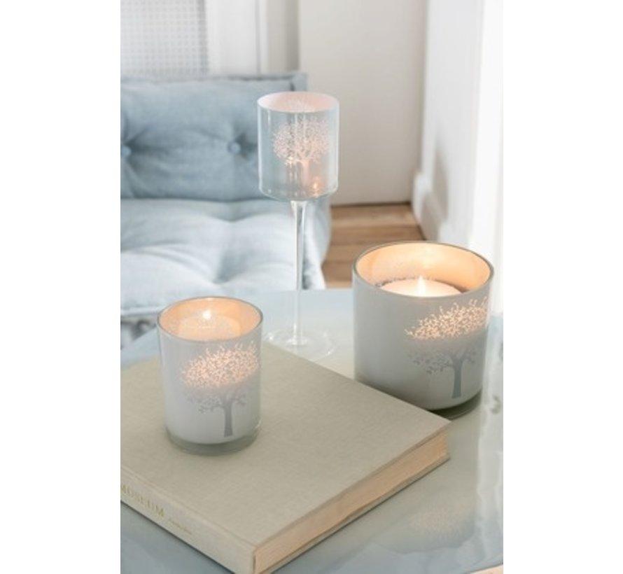 Tealight holders Glass Tree White Blue - Large