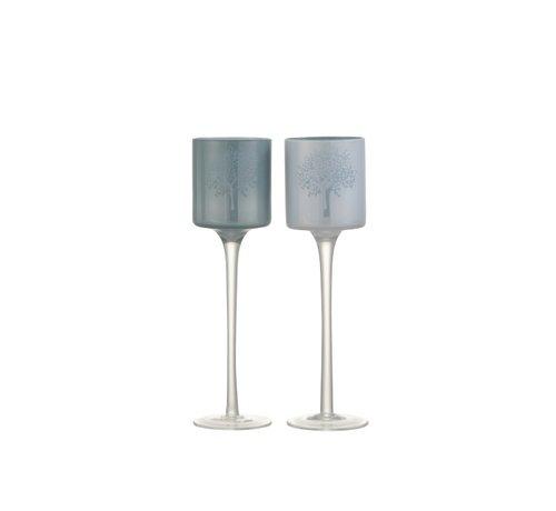 J -Line Theelichthouders Glas Boom  Op Voet Wit Blauw - Small