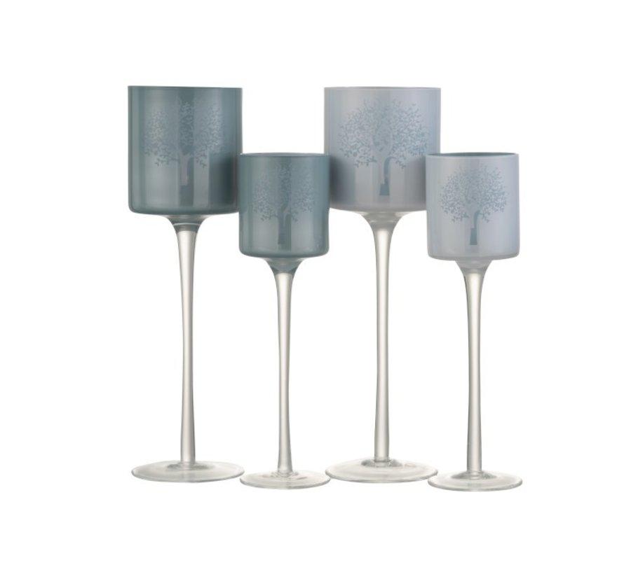 Theelichthouders Glas Boom  Op Voet Wit Blauw - Small