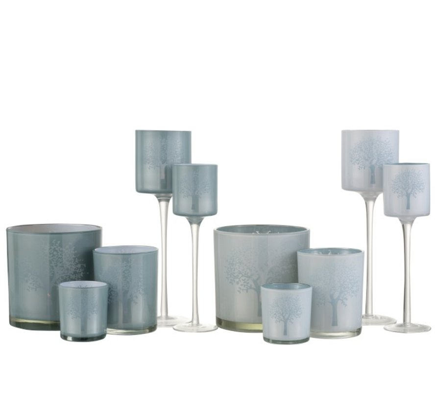 Theelichthouders Glas Boom  Op Voet Wit Blauw - Large