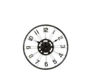 J -Line Wall Clock Round Bicycle Wheel Metal Gear - Matt Gray