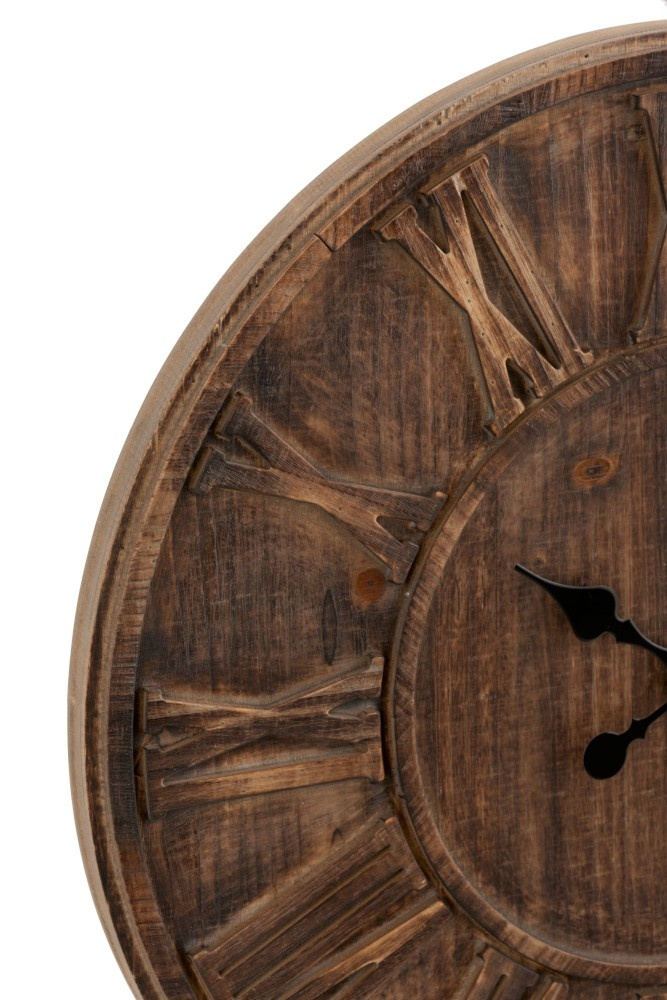 Wall Clock Round Wooden Disc Roman