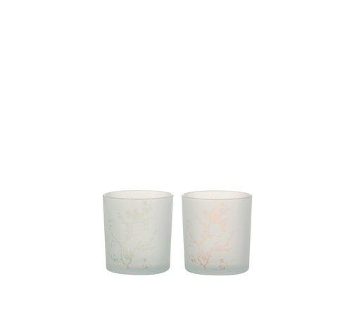 J -Line Theelichthouders Glas Boompjes En Vogel Groen Roze - Small