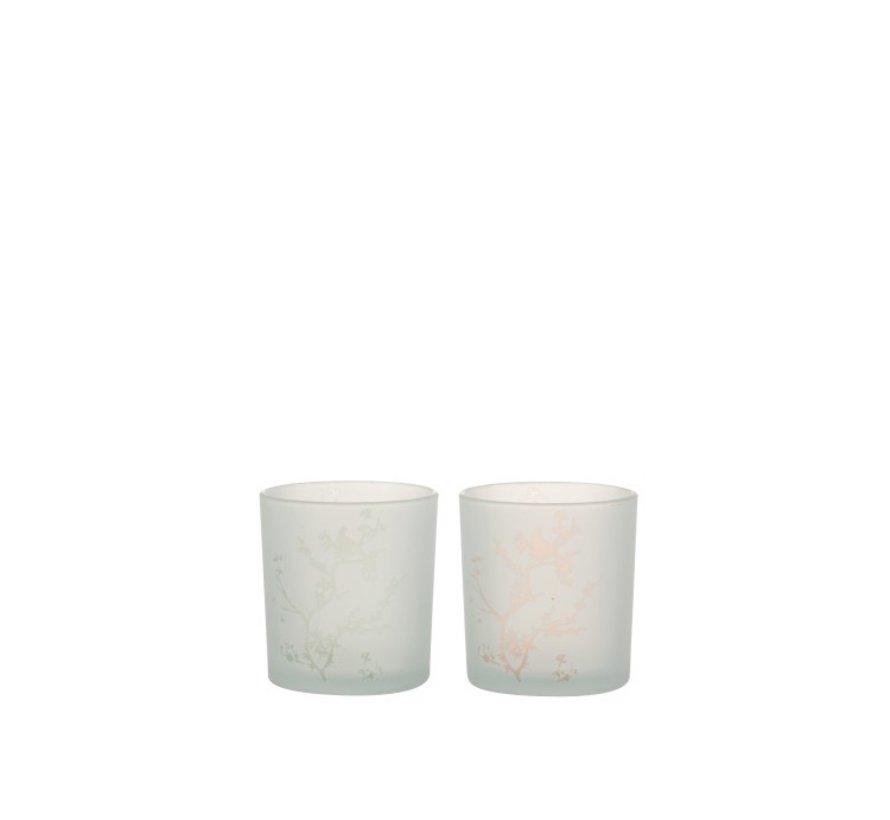 Theelichthouders Glas Boompjes En Vogel Groen Roze - Small