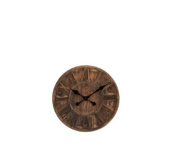 J -Line Wall Clock Round Wooden Disc Roman Numerals - Small
