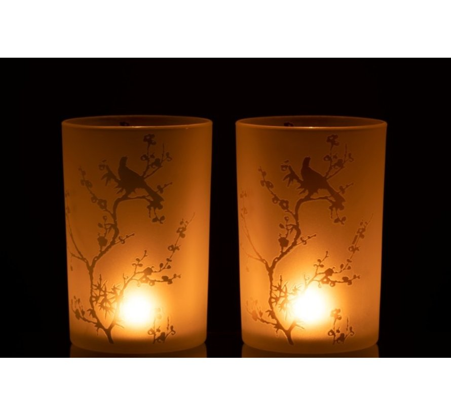 Tealight Holders Glass Trees And Bird Green Pink - Large