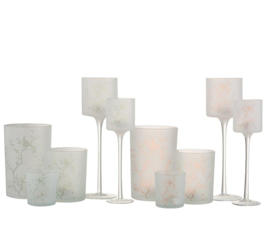 Theelichthouders Glas Op Voet Boompjes Vogel Groen Roze - Small