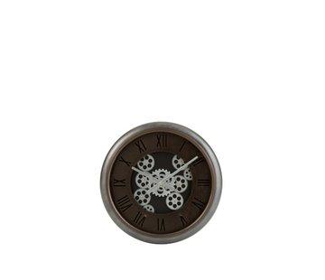 J -Line Wall Clock Round Radar Roman Numerals metal Brown - Silver