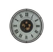 J -Line Wall Clock Round Border Roman Numerals Metal Gray Black Gold - Large