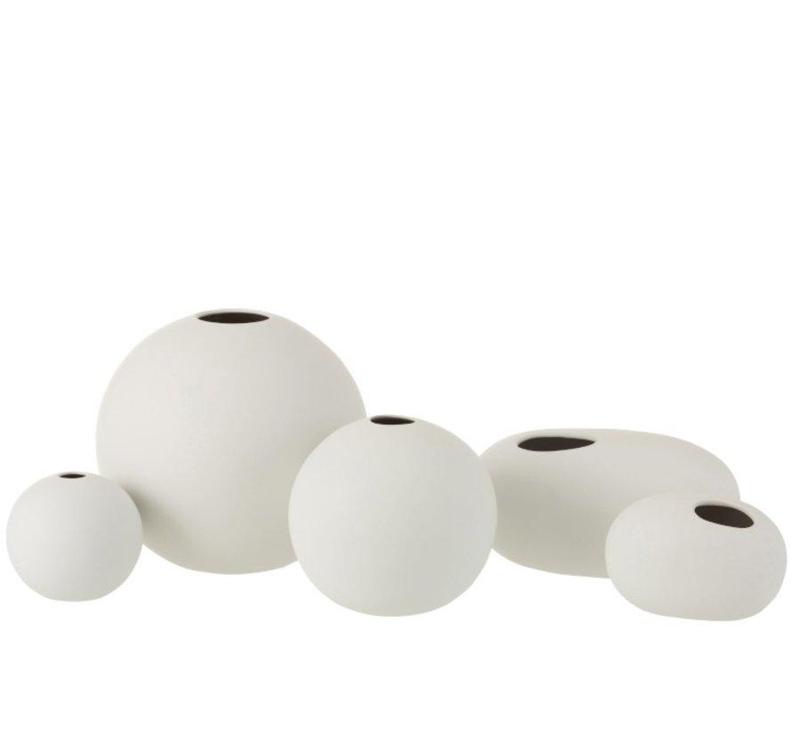 Vase Sphere Ceramic Pastel Matt White - Small