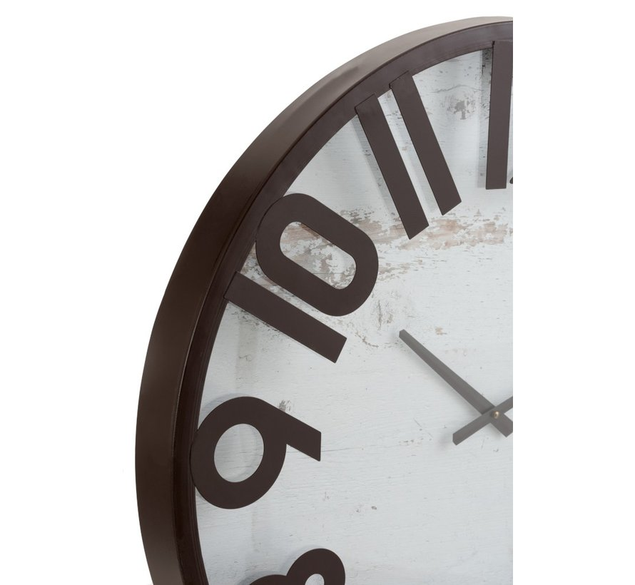 Wall Clock Round Washed Background Wood Metal Brown - White