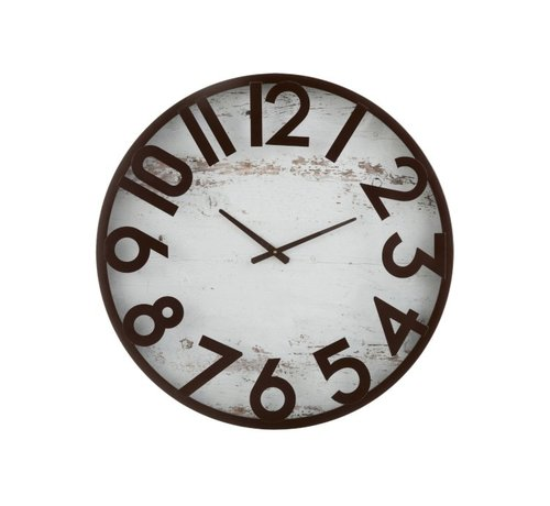 J -Line Wall Clock Round Washed Background Wood Metal Brown - White