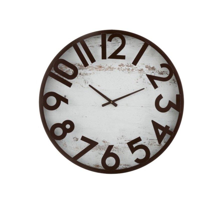 Wall Clock Round Metal Brown - White