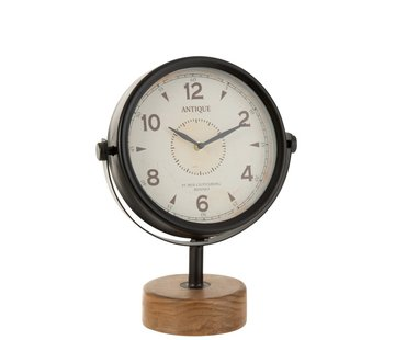 J -Line Table Clock On Foot Round White Metal Wood Black - Natural