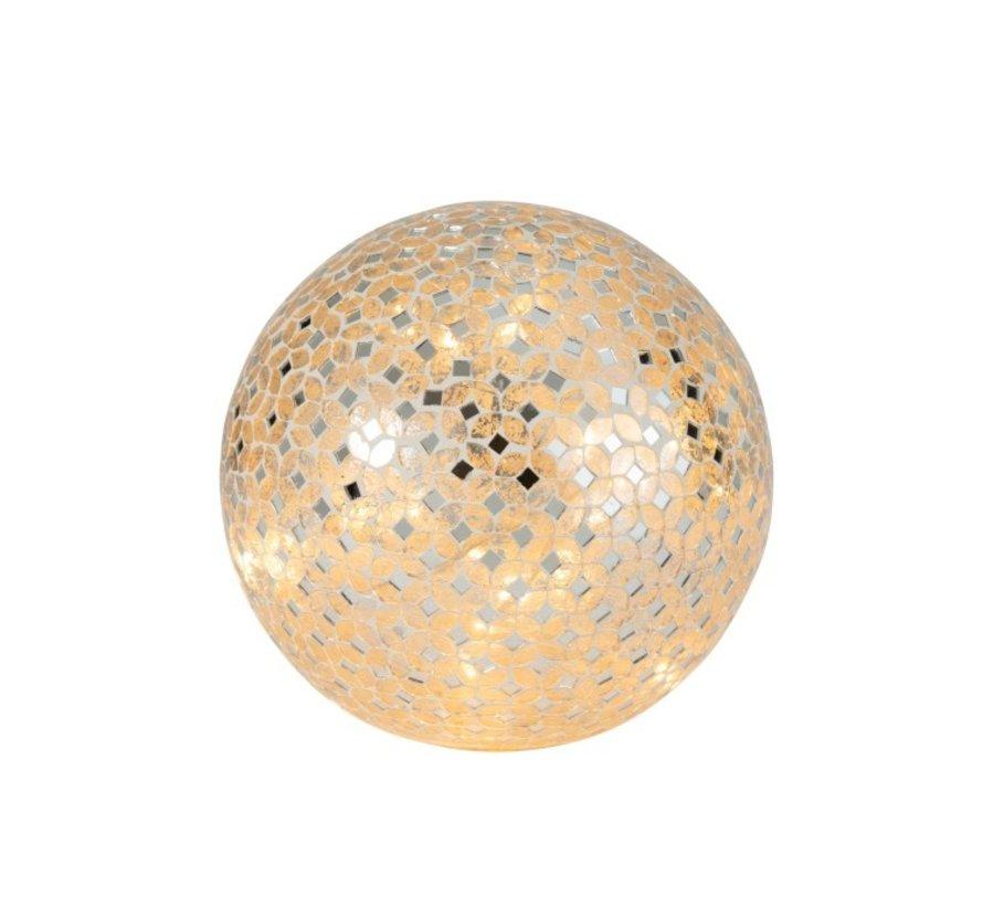 Tafellamp Bol Mozaiek Glas Led Zilver - Large