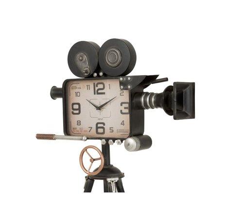 J -Line Floor clock Tripod Vintage Camera Metal - Black