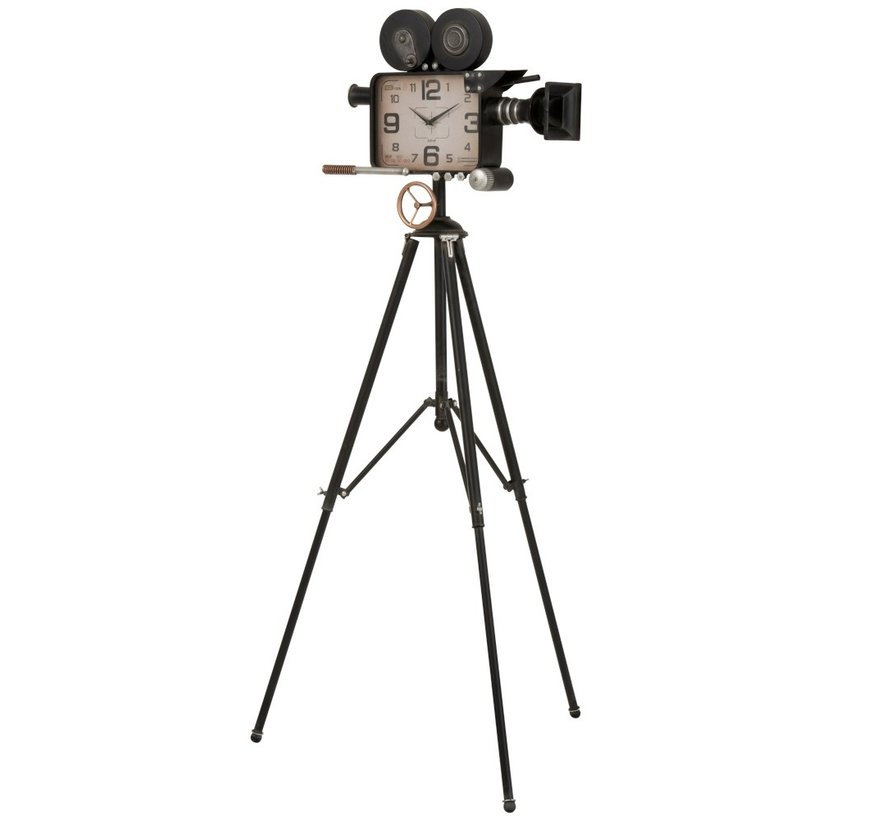 Floor clock Tripod Vintage Camera Metal - Black