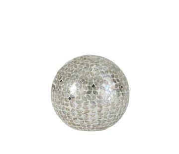 J-Line  Tafellamp Bol Mozaiek Glas Led Zilver - Small