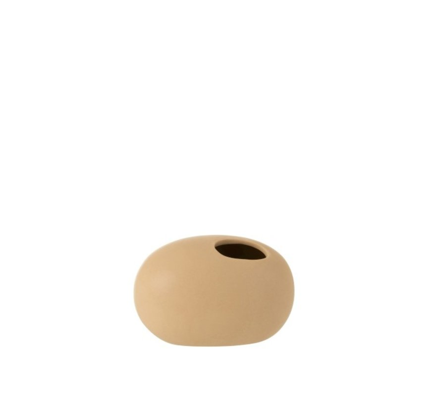 Vase Oval Ceramic Pastel Matt Beige - Small