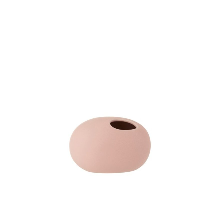 Vase Oval Ceramic Pastel Mat Pink - Small