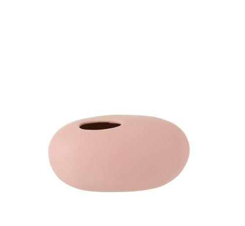 J -Line Vaas Ovaal Keramiek Pastel Mat Roze - Large