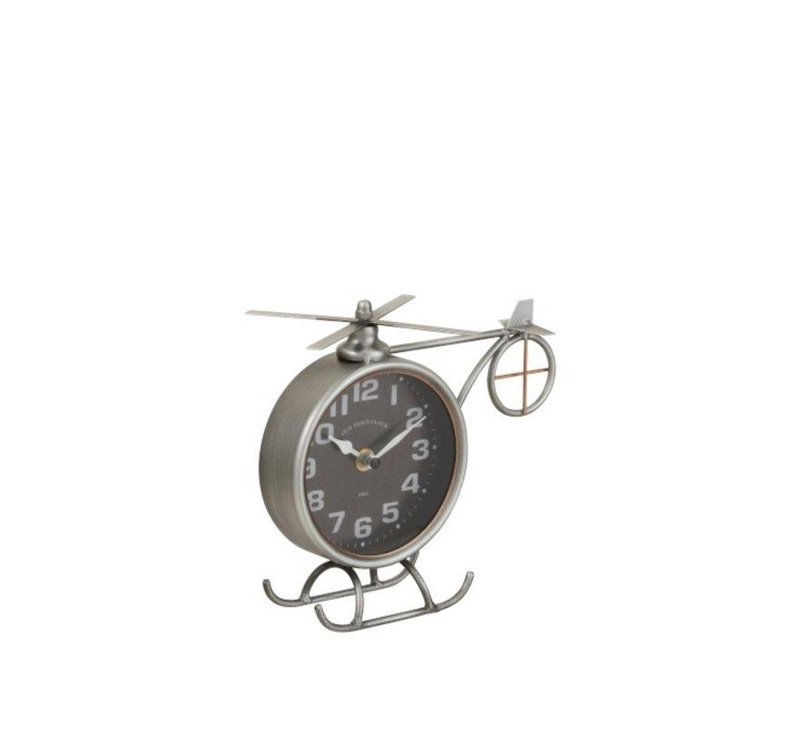 Tafelklok Helikopter Metaal Mat Grijs - Koper