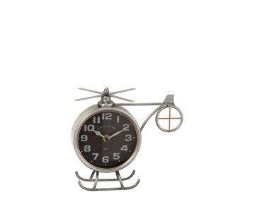 J-Line Table Clock Helicopter Metal Matt Gray - Copper
