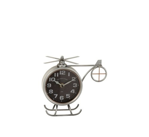 J -Line Table Clock Helicopter Metal Matt Gray - Copper