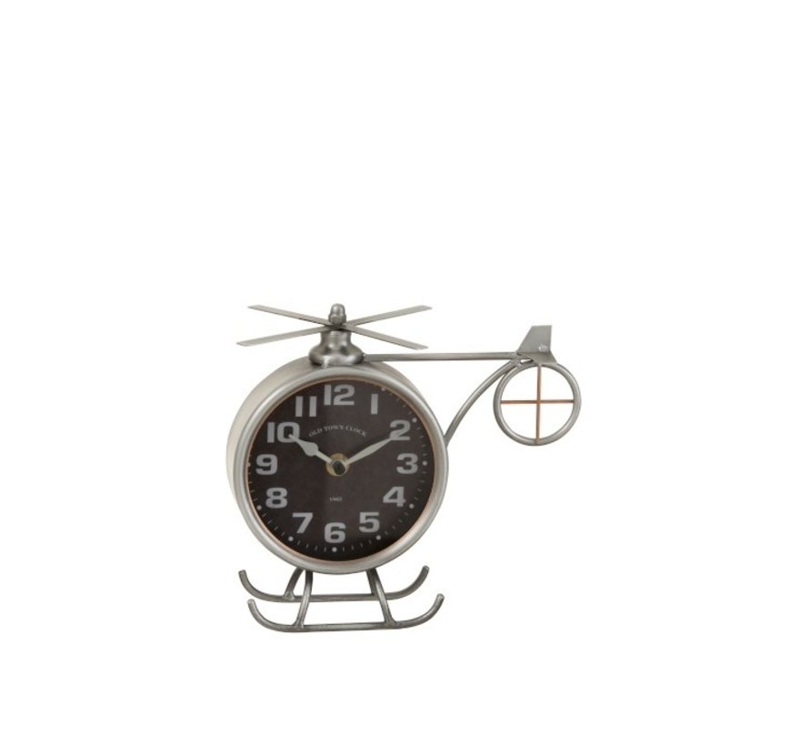 Table Clock Helicopter Metal Matt Gray - Copper
