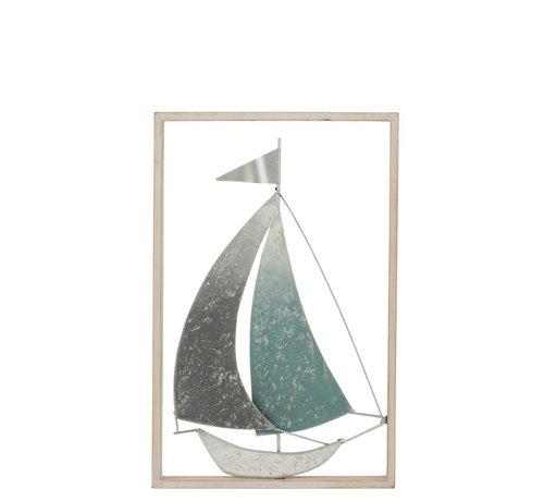 J -Line Wanddecoratie Zeilboot Metaal Hout Pastel Grijs - Groen