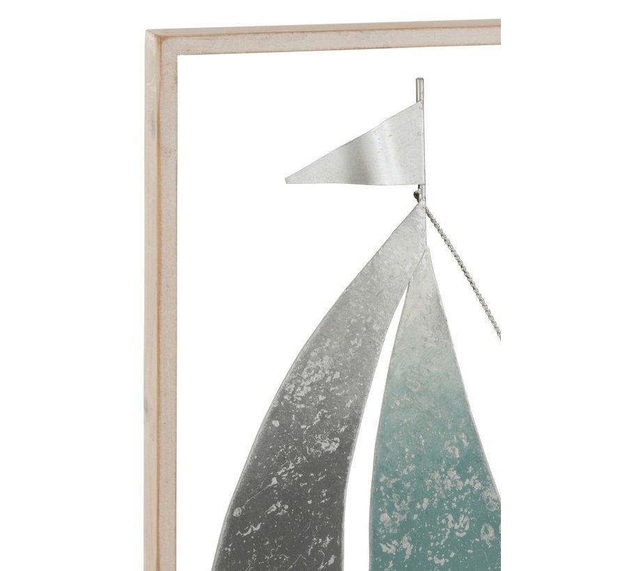 Wanddecoratie Zeilboot Metaal Hout Pastel Grijs - Groen