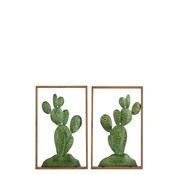 J -Line Wall decoration Cacti Metal Wood Brown - Green
