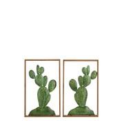 J-Line  Wanddecoratie Cactussen Metaal Hout Bruin - Groen