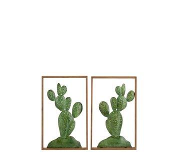 J -Line Wanddecoratie Cactussen Metaal Hout Bruin - Groen